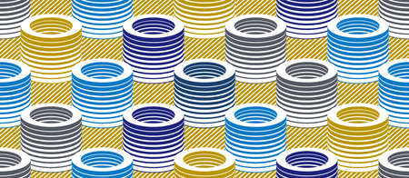 3D tubes optical seamless pattern, vector repeat tiling background, op art theme textile or wrapping paper, website backdrop or wallpaper.