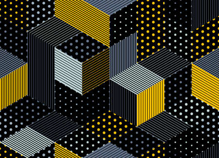 Dotted seamless isometric geometric pattern, dots and lines 3D cubes vector tiling background, architecture and construction, wallpaper design. Illustration