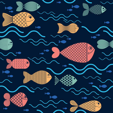 Funny cartoon fishes vector seamless background, cute childish pattern for children textile or wrapping paper or packaging for seafood products.