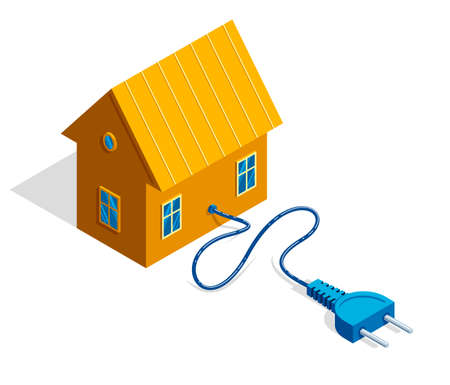 Small cottage house with electric plug 3d isometric vector illustration or icon isolated on white. Illustration