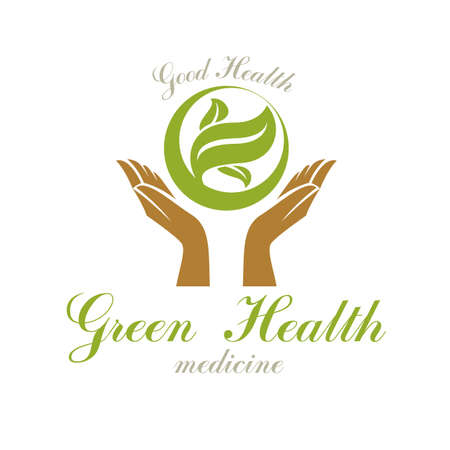 Caring hands holding green spring leaves. Medical rehabilitation abstract logo. Ilustração