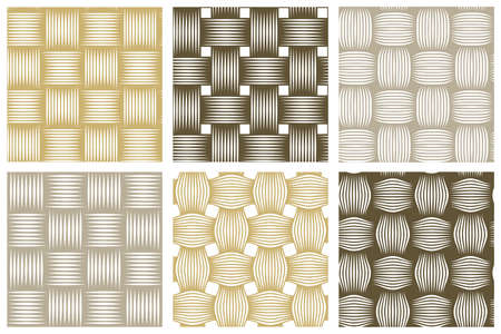 Seamless vector weaving patterns set, linear backgrounds with crossed lines, textile knitted repeat tiling wallpapers, perfect simplistic minimal designs. Illustration