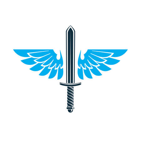Vector graphic illustration of sword created with bird wings, battle and security metaphor symbol. Seraph vector emblem.