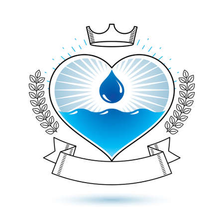 Vector blue clear water drop logotype for use as marketing design symbol. Body cleansing concept.
