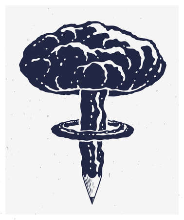Pencil with nuclear explosion mushroom shape, creative explosion or energy concept, exploding creativity, vector conceptual logo or icon. Logo