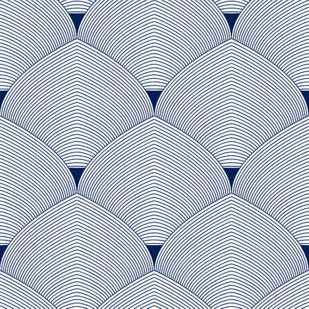 Geometric seamless pattern, abstract tiling background, vector repeat endless wallpaper illustration. Roof tiling or fish squama shapes motif. Single color, black and white. Usable for fabric, wallpaper, wrapping, web and print. Illustration