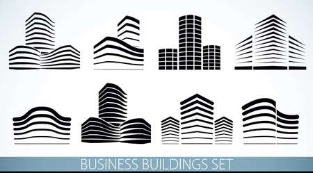 Futuristic buildings set, modern style vector architecture illustrations collection. Real estate realty business center designs. 3D business office facades in city. Can be used as a logos or icons. 矢量图像