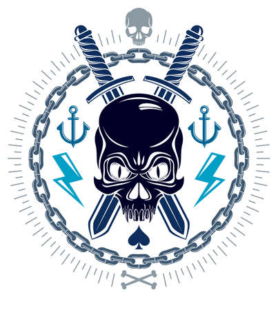 Aggressive skull pirate emblem Jolly Roger with weapons and other design elements, vector vintage style logo or tattoo dead head. Logo