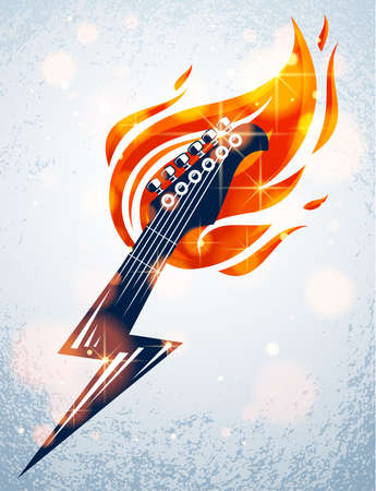 Electric guitar headstock on fire in a shape of lightning, hot rock music guitar in flames and bolt, Hard Rock or Rock and Roll concert or festival label, night club live show, vector logo.