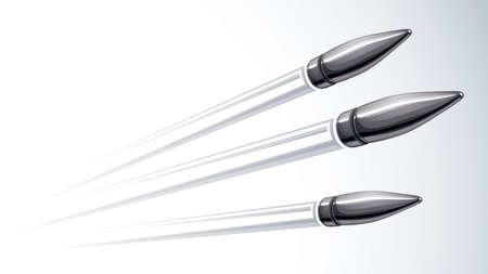Realistic bullets flying over white, vector 3D illustration. Vettoriali