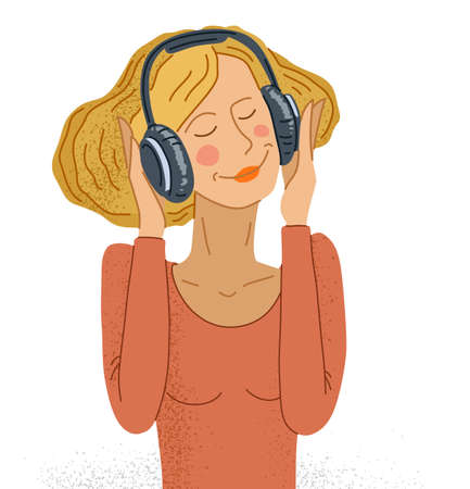 Young woman listening to music in headphones vector illustration isolated on white, girl is enjoying and relaxing listening to music.