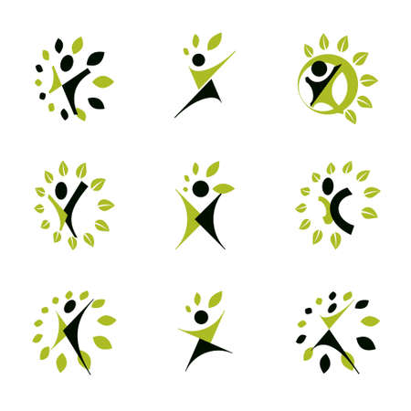 Collection of vector illustrations of happy abstract human with raised hands up. Phytotherapy metaphor, vector graphic emblem.