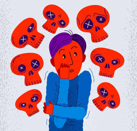 Thanatophobia fear of death vector illustration, young man surrounded with imaginary dead skulls in fear and panic attack, psychology and psychiatry.