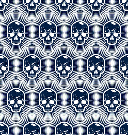 Seamless skulls background, vector pattern with crazy sculls, horror and death theme, Hard Rock and Rock N Roll subculture prints textile, hazard and danger.