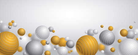 Realistic lined spheres vector illustration with blank copy space, abstract background with beautiful balls with lines and depth of field effect, 3D globes design concept art.  イラスト・ベクター素材