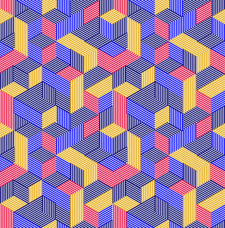 Geometric 3D seamless pattern with lined cubes, stripy boxes blocks vector background, architecture and construction, wallpaper design. Illustration