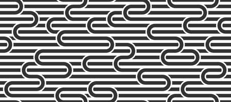 Seamless lines pattern, stripy geometric vector abstract background, linear stripy net, optical maze, web network. Black and white design.