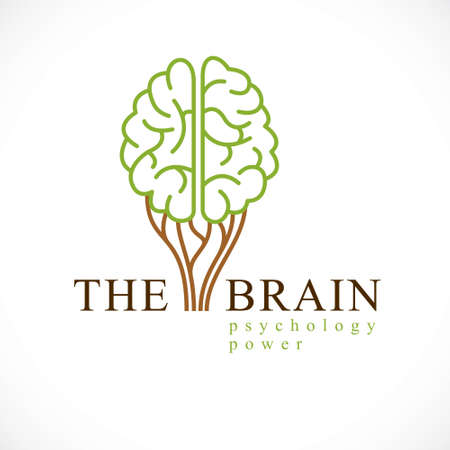 Mental health and psychology concept, vector icon or logo design. Human anatomical brain in a shape of green healthy tree, growth and heyday of personality and individuality.