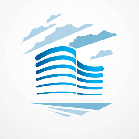 City building business financial office vector design. Futuristic architecture illustration. Real estate realty office center design. 3D futuristic facade in big city. Can be used as a logo or icon.