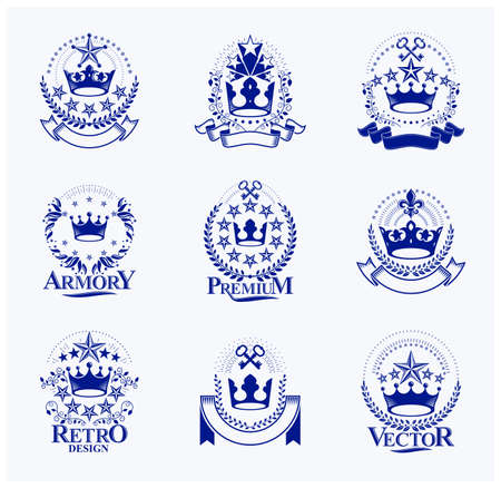 Majestic Crowns emblems set. Heraldic Coat of Arms decorative logos isolated vector illustrations collection.