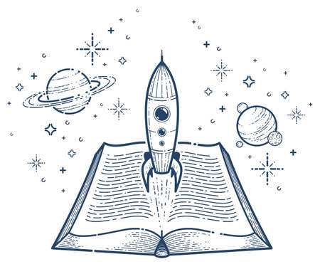 Open book with launching rocket vector linear icon, missile start up from text, space scientific literature library reading line art illustration.