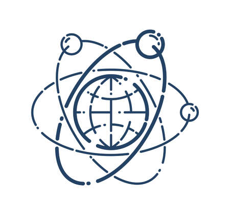 Atom with earth planet inside vector linear icon, everything is created from elementary particles concept.