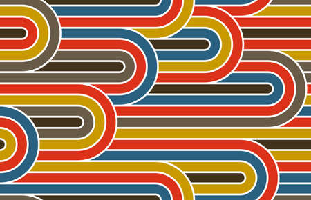 Seamless linear vector geometric minimalistic pattern, abstract lines tiling background, stripy weaving, optical maze, twisted stripes. Colorful design.