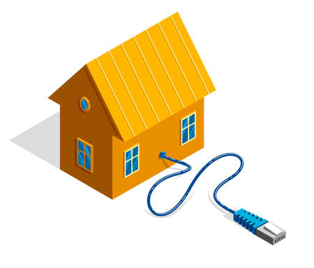 Small cottage house with internet plug 3d isometric vector illustration or icon isolated on white.