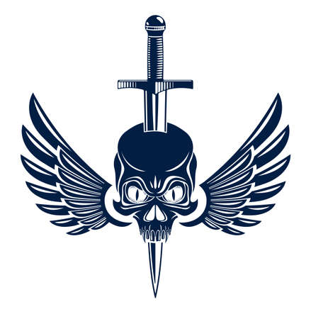 Skull killed by a dagger knife with wings vintage vector emblem or logo isolated on white, vintage style coat of arms crest, gang sign criminality, classic style tattoo.