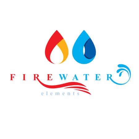 Nature elements harmony logo for use as corporate emblem, fire and water balance. Ilustracja