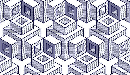 Geometric cubes abstract seamless pattern, 3d vector background. Technology style engineering line drawing endless illustration. Usable for fabric, wallpaper, wrapping, web and print. Illustration