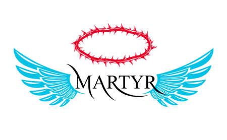 Martyr vector concept logo or sign, Christian religion and faith saint person, martyrdom blackthorn thorn wreath crown, Jesus Christ, suffering pain. 向量圖像