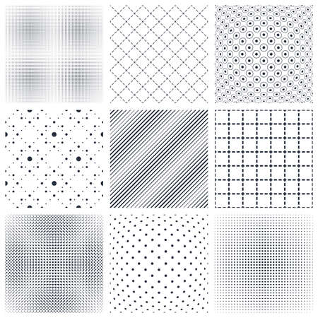 Geometric seamless patterns set, abstract minimalistic and simple lined and dotted backgrounds, wallpapers for web design and print. Black and white swatches. Illustration