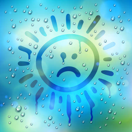 Sad sun drawn on a window over blurred background and water rain drops, vector realistic illustration, bad depressing weather theme.