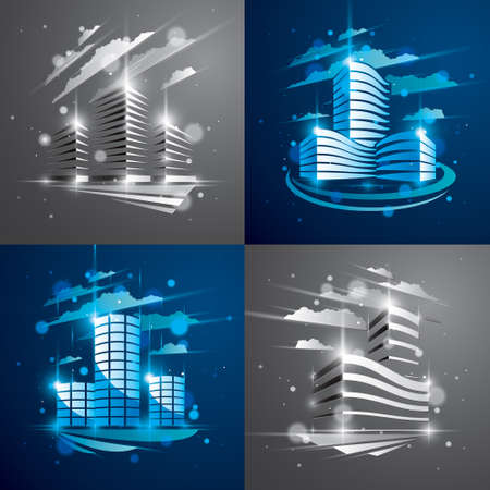 Futuristic buildings set, modern vector architecture illustrations with blurred lights and glares effects. Real estate realty business center blue and grey designs. 3D business office facades in city.