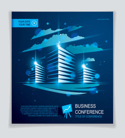 Office building brochure, modern architecture vector flyer with blurred lights and glares effect. Real estate business center blue design. 3D futuristic facade business conference print template. Vektorgrafik