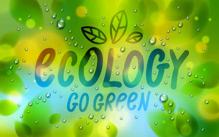 Ecology word drawn on a window, fresh green leaves and water rain drops or condensate macro, vector 3d realistic transparent illustration, ecological nature beautiful art.
