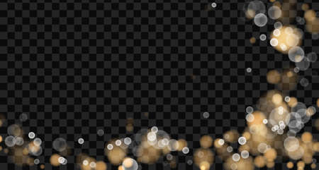 Bright blurred lights vector transparent effect illustration, abstract bokeh background with depth of field effect, easy to put over any photo.