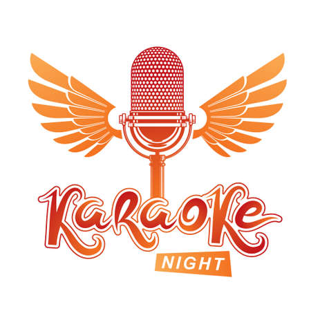 Nightlife entertainment concept, karaoke night vector inscription composed with stage microphone illustration. Leisure and relaxation lifestyle presentation. Ilustração