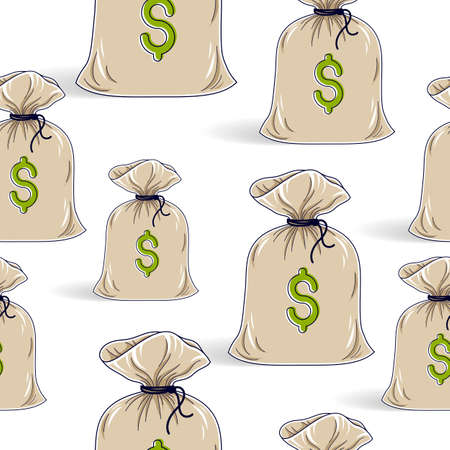 Money bags seamless background, backdrop for financial business website or economical theme ads and information, vector wallpaper or web site background.
