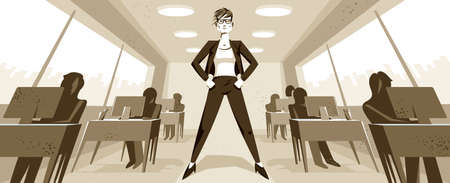 Big boss director woman stands in center of office with employees confident serious and angry vector illustration, bad boss female despot and tyrant concept, manager in control of work process.
