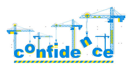 Construction cranes builds Confidence word vector concept design, conceptual illustration with lettering allegory in progress development, stylish metaphor of psychology. 向量圖像