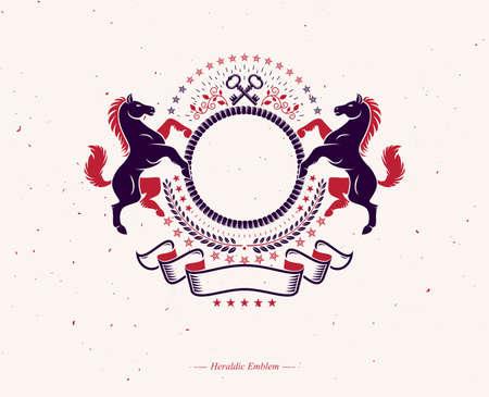 Graphic symbol created using wild horse animal element and pentagonal stars. Heraldic vector design element. Retro style label, heraldry logo.