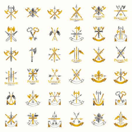Weapon emblems vector emblems big set, heraldic design elements collection, classic style heraldry armory symbols, antique knives armory arsenal compositions.