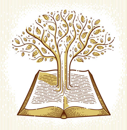 Tree growing from text lines of an open vintage book education or science knowledge concept, educational or scientific literature library vector logo or emblem. Logo