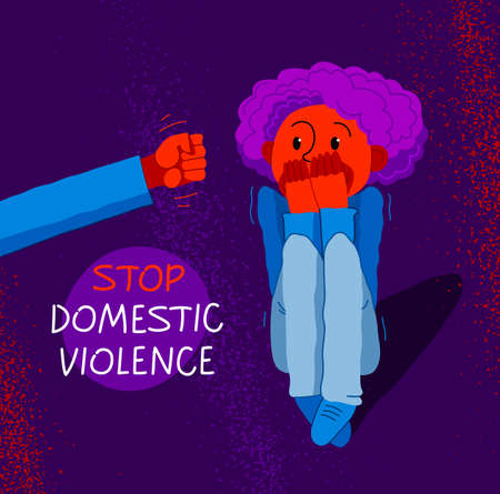 Domestic violence concept vector, clenched fist threats little kid scared boy, psychological abuse, bad parent son victim, despotic parents, abusive relations.