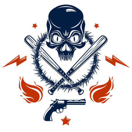 Gangster emblem logo or tattoo with aggressive skull baseball bats and other weapons and design elements, vector, criminal ghetto vintage style, gangster anarchy or mafia theme. Vectores