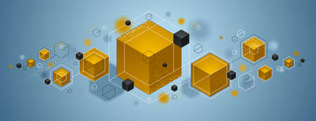 Cubes cluster with yellow and blue elements lines and dots vector abstract background, 3D abstraction geometric design, technology and science theme. Ilustração Vetorial