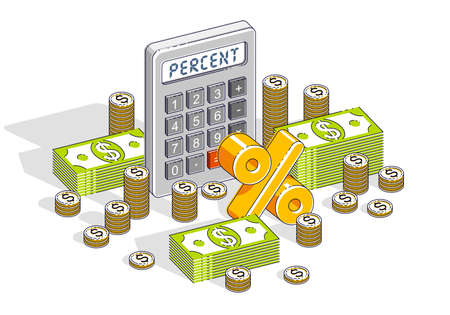 Percent concept, calculator and cash money dollar stack and coins isolated on white background. Vector 3d isometric business and finance illustration. 向量圖像