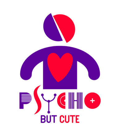 Cute but psycho funny vector cartoon logo or poster with weird expression man icon, t shirt print or social media picture. 矢量图像